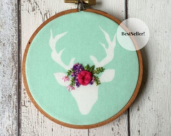Hand Embroidered Woodland Nursery Décor – Stag or Deer Embroidery Hoop Wall Art - Floral Embroidery Nursery Art – Gift for Mom