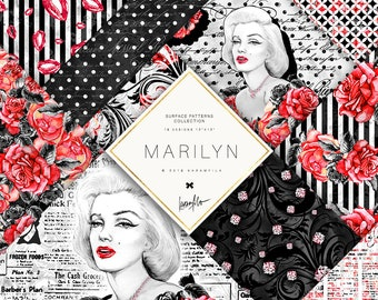 Hollywood Paper Pack Marilyn Monroe Feminine Fashion Watercolor Peonies Roses Digital Paper Newspaper Red Black Backgrounds Planner DIY