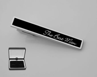 Engraved Tie Clip, Personalized Tie Clip, Black Tie Clip, Custom Tie Clip, Personalized Groomsman Gifts, Wedding Gifts - Buy 6, Get 7th Free