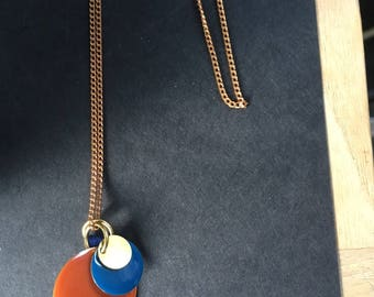 Necklace Colors orange, rust & blue