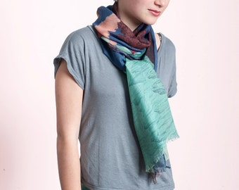 Sales 25% OFF  Wool & Silk's scarf, with spectacular landscape of Volcanoes and Smokes, Hand-drawn, blue sky