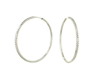 Large Italian Sterling Silver Diamond Cut Endless Hoop Earrings