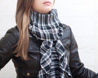 Black Scarf, chunky scarf, womens scarves, Crinkle Scarf, winter accessories