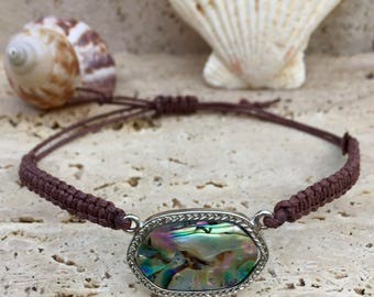 Macrame Bracelet With Abalone Shell Connector