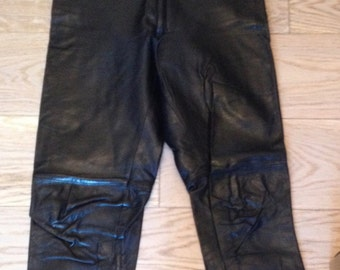 Leather, black, mixed, women, men pants. Vintage 80s/90s high waist, size M/40