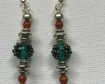 Czech glass and sunstone bead Earrings