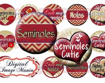 INSTANT Download SEMINOLES 4x6 Digital Printable 1 Inch Circle Bottle Cap Images (103)