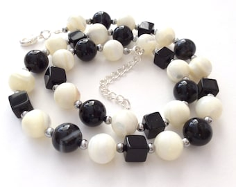 Black Onyx, Agate, Mother of Pearl Monochrome Gem Bead Necklace