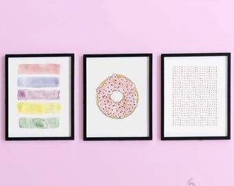 3 Piece Donut Nursery Wall Art - Instant Download - Printable Art - Gender Neutral - Nursery Decor - Printable Nursery Art - DIY Print