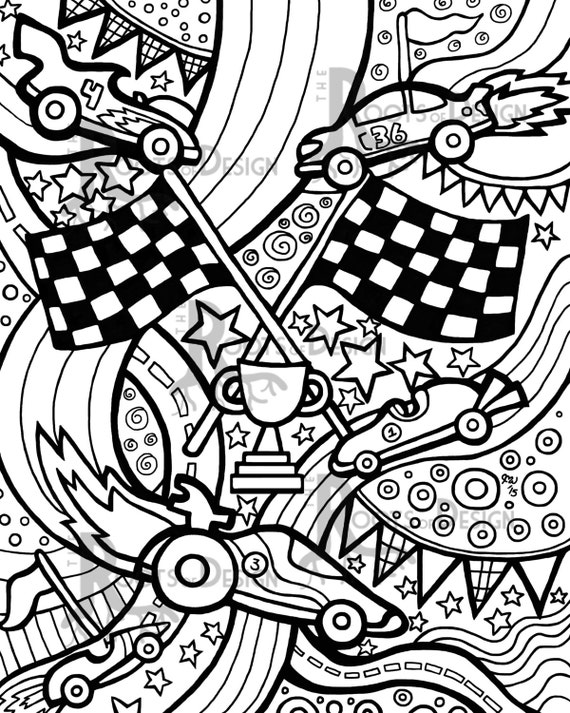 INSTANT DOWNLOAD Coloring Page Race Cars zentangle inspired