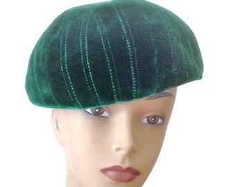Velvet Hat Quilted Hat Velvet Beret Vintage 50s Star Hat by Tom Hann Size L