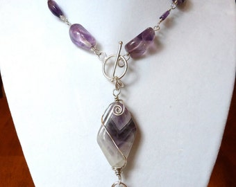 Amethyst and Silver Wire Wrapped Necklace and Pendant