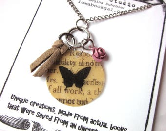Book Page Butterfly Charm Necklace, Book Jewelery, Books Gift, Book Lover Literary Jewelry