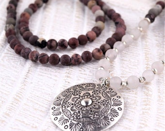 Gentle Heart Necklace - Artistic Jasper - Rose Quartz - Hill Tribe Silver - Mala -Silver pendant - Healing Gemstone jewelry - Yoga jewelry -