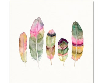 Watercolor Feather Art.  Feather Print. Green/Pink Feathers. Dorm room Decor. Modern Apartment Art.