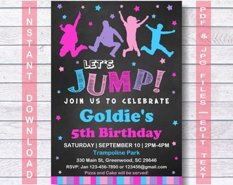 Jump Birthday Invitation, Jump Invitation, INSTANT DOWNLOAD, Bounce house invitation, Trampoline party, Let's Jump, Jump Party, Girls