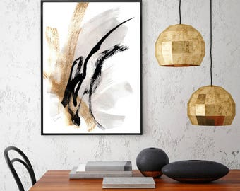 Black and White Art Abstract Painting Black and White Painting Large Abstract Art Print Gold Painting Modern Art Print Minimal Art Grey Art