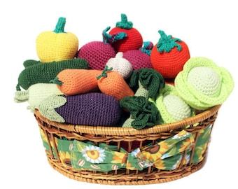 Crochet fruit and vegetable set 10 pcs Pretend Play Kitchen Play Food Waldorf Crochet Toy Kitchen food Crochet food Fake food