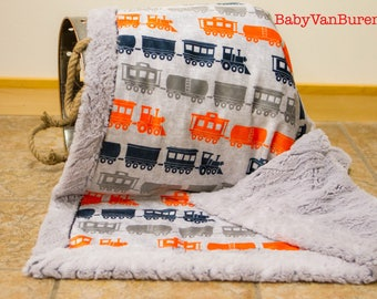 Train Minky Blanket - Baby Blanket -Crib Blanket - Adult Blanket