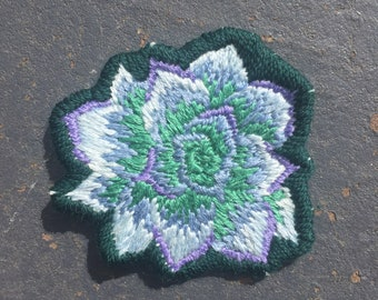 Succulent Hand Embroidered Patch