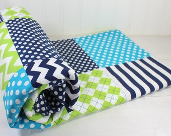 Baby Blanket, Nurser Decor, Minky Baby Blanket, Baby Quilt, Baby Shower Gift, Nursery, Turquoise, Navy, Blue, Lime, Lime Green, Baby Boy