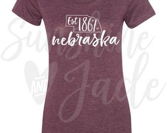 Cute Nebraska Established 1867 Women's Triblend Short Sleeve Tee Shirt Apparel