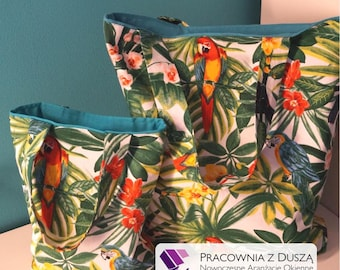 bag, bags for mum and daughter, shoper bags, mum and daughter, parrots, exotic parrots, handmade, fashionable, design, look, summer, shop