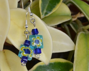 Glass earrings with sterling silver hook
