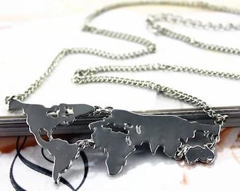 World Map Necklace - Map Jewelry - World Map Charms - Traveling Jewelry - Traveling Necklace