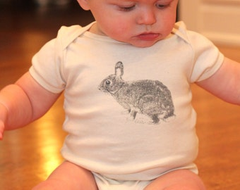 Bunny Rabbit Bodysuit - Organic Cotton Natural Onepiece - hand screen printed - made in America