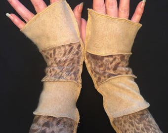 Upcycled Cream and Leopard Cashmere and Wool Fingerless Gloves Arm Warmers Armwarmers Recycled Sweater Wristwarmers Repurposed Texting