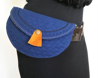 Quilted Bum Bag, Belt Bag, Hip Bag Navy and Yellow