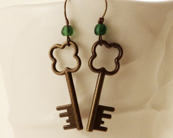 Lucky Clover Keys to my Heart - Bronze Key Charms and Green Sea Glass Bead Dangle Earrings