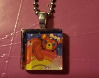 Lisa Frank Teddy Bear glass tile necklace
