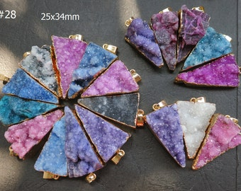 Blue Pink Purple Druzy Agate Triangle Pendant 25x34mm - Gold plated- #28