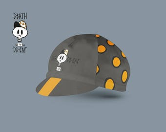 Custom designed cycling cap - Death to Decaf - Rune-Creative - original cycling caps - coffee lovers - Hipster