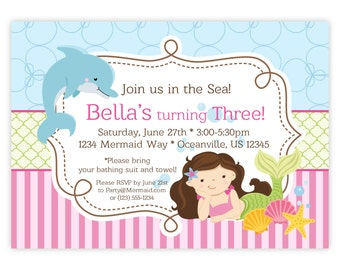 Mermaid Invitation - Fun Blue Bubbles and Pink Stripes, Dolphin and Mermaid Personalized Birthday Party Invite - a Digital Printable File