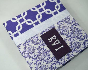 Photo Album Baby Memory Book Girl Baby Book Purple Damask Pregnancy Journal 5x7 4x6 8x10 Picture Personalized Scrapbook