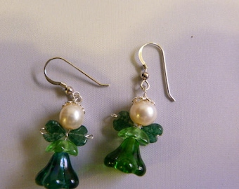 Saint Patricks Day Angels, St Patty Day angels, St Paddy Day angels, Green Angel Earrings