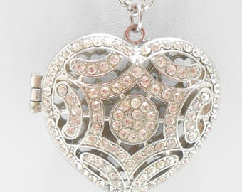 Gorgeous Hinged Heart Pendant Necklace (2269) Clear Rhinestones Galore!!