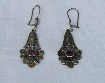 Antique sterling silver 925 earrings beautifully decorated - Antique silver earrings - Vintage silver earrings - Sterling Silver earrings