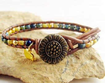 Sunflower Bracelet, Seed Bead Bracelet, Boho Single Wrap Bracelet, Blue and Yellow Bracelet, Gift for Her Under 20, Annie Expressions
