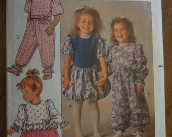 Butterick 5132, sizes 1-3, toddlers, childrens, dress and pants, jumpsuit, UNCUT sewing pattern
