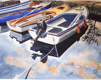 Original Watercolor Painting, Original Watercolor Artwork, Watercolor Seascape, Boats Watercolor, Perfect Gift
