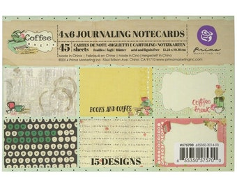 "Prima Marketing Coffee Break Journaling Notecards 4""X6"" 45/Pkg"