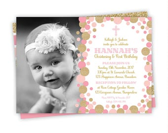 Girl baptism invitation pink gold christening printable pink and gold baptism invitation pink and gold christening invitation baptism and birthday invitation stopboris Image collections