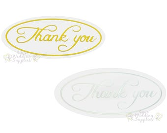 50x Silver or Gold Thank You Envelope Stickers Seals Wedding Invitations Stationery Supplies