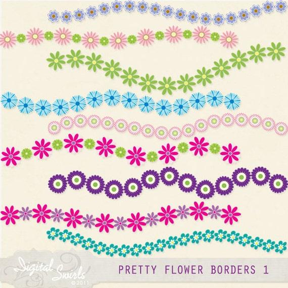 Pretty flower borders set 1 digital clipart for card making mightylinksfo