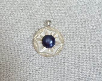 Vintage Mother of Pearl Carved Shell & Blue Button Pendant
