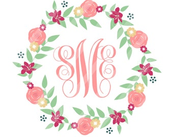 Floral Wreath Monogram Digital Download for iron-ons, heat transfer, Scrapbooking, Cards, Tags, Signs, DIY, YOU PRINT